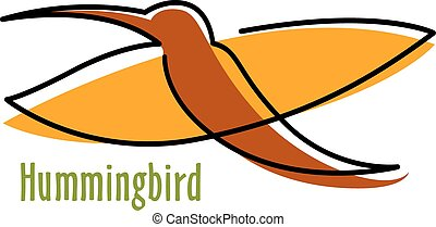 Abstract hummingbird in orange and brown
