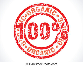 abstract hundred percent organic stamp vector illustration