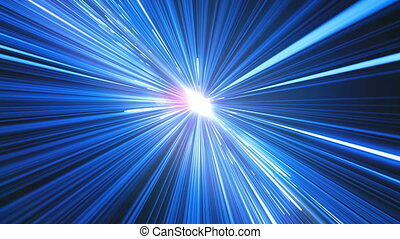 Abstract Hyperspace Jump in Universe. Beautiful Space Travel Through Stars Trails Blue Color to the Sun. Digital Design Concept. Looped 3d Animation of Glowing Lines 4k Ultra HD 3840x2160.