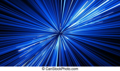 Abstract Hyperspace Jump in Universe With Spinning. Beautiful Space Travel Through Stars Trails Blue Color. Digital Design Concept. Looped 3d Animation of Glowing Lines 4k Ultra HD 3840x2160.