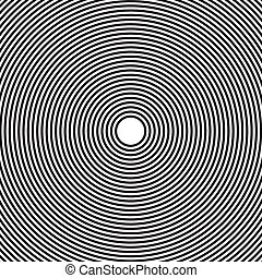 Abstract, hypnotic background on black and white, vector...
