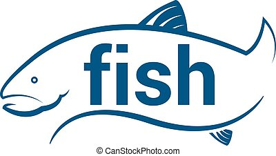 Abstract icon fish with text. Vector