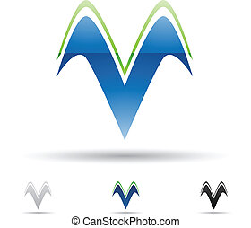 Abstract icon for letter V - Vector illustration of abstract...