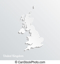 Abstract icon map of United Kingdom on a gray background