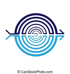 Abstract icon of a spiral. Stock illustration isolated on a white background.