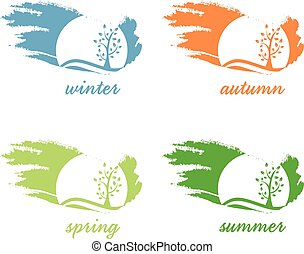 Abstract icon of tree,sun and birds .Vector