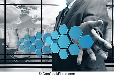abstract icon - business man hand shows abstract icon with...
