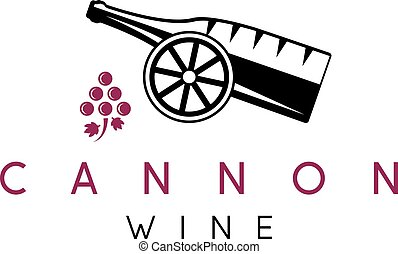 abstract icon vector design template of wine bottles and cannon