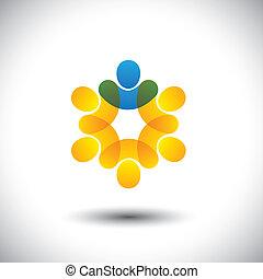 abstract, iconen, van, mensen, en, leider, in, cirkel, -,...