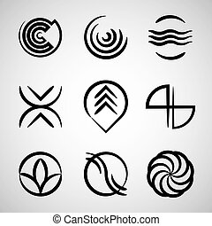 Abstract icons collection, simple symbols vector set.
