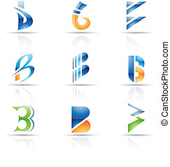 Abstract icons for letter B