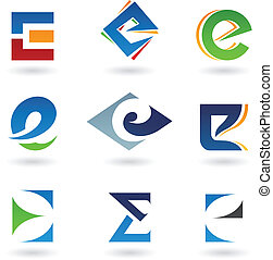 Abstract icons for letter E