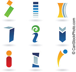 Abstract icons for letter I - Vector illustration of ...