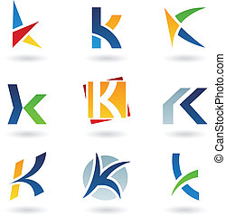 Abstract icons for letter K - Vector illustration of...