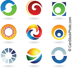 Abstract icons for letter O - Vector illustration of...