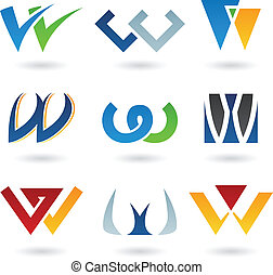 Abstract icons for letter W - Vector illustration of...