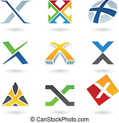 Abstract icons for letter X - Vector illustration of ...