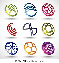 Abstract icons of different shapes vector set 2.