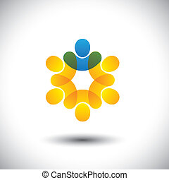 Abstract icons of people and leader in circle - leadership concept. This vector graphic also represents concept of company employees and manager, supervisor and staff, community members & leader, etc