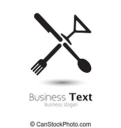 Abstract icons of spoon, knife, fork & glass- vector graphic...