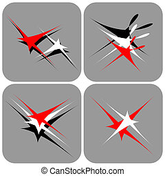 Abstract icons set. - Flying and dancing shapes. Icons set....