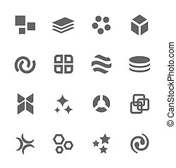 Abstract Icons. Set of 16 elements.