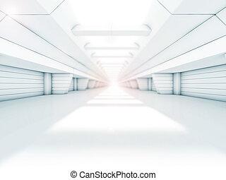 Abstract illuminated empty corridor interior. 3D