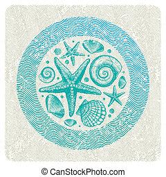 abstract, illustratie, hand, vector, zee, getrokken, fauna