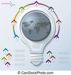 abstract, illustratie, infographic, met, gloeilamp