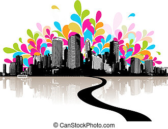 abstract, illustratie, met, city.