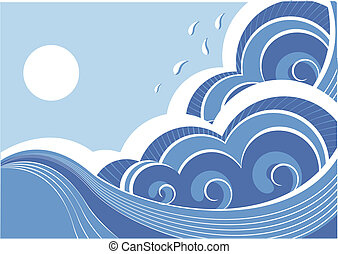 abstract, illustratie, vector, landscape, zee, waves.