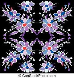 abstract, illustratie, vector, zwarte achtergrond, violet bloemen
