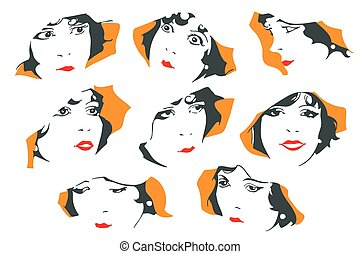 Abstract portrait of a cute girl. Different emotions.