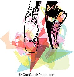 Abstract illustration ballet pointe shoes - Abstract ballet...
