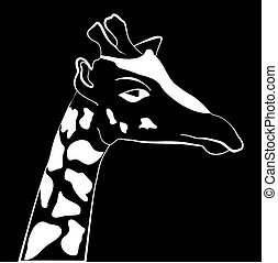 Abstract illustration, black and white silhouette of giraffe.