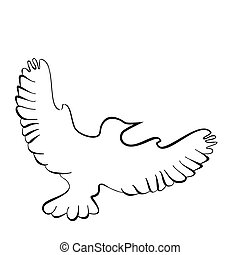 Abstract illustration, black and white silhouette of pigeon, dove.