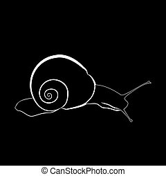Abstract illustration, black and white silhouette of snail. Snail on slope.