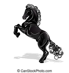 black horse - abstract illustration, black horse on white...