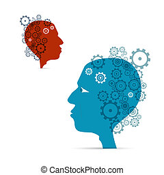 Abstract illustration, cogs in two heads