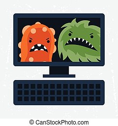 Abstract illustration computer infected with viruses. -...