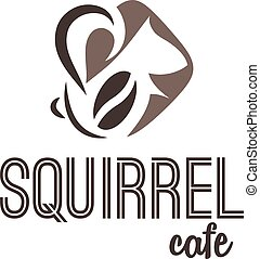 Abstract illustration icon of squirrel and coffee