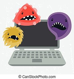 Abstract illustration laptop infected with viruses. -...