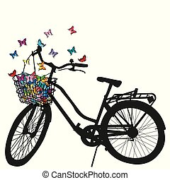 Abstract illustration of a bicycle silhouette with colored butterflies flying from basket