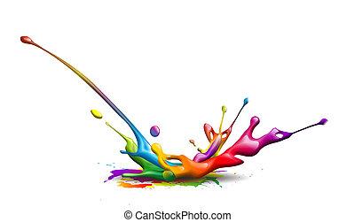 ink splash - abstract illustration of a colorful ink splash