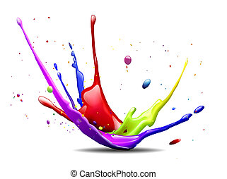 colorful ink splash - abstract illustration of a colorful...