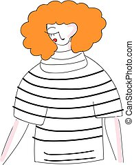 Abstract illustration of a girl with orange curly hair in black and white shirt  white background