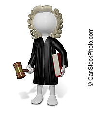 judge - abstract illustration of a judge in a wig with a...