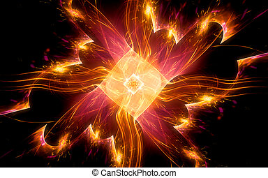 abstract illustration of a magic crystal of orange color rotating in the center of the composition with bright waves and sparkles around on the background of a geometric pattern with a glowing outline
