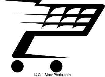 Black and white abstract illustration of a shopping cart moving fast, isolated on white background