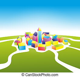 settlement - abstract illustration of a small village ...
